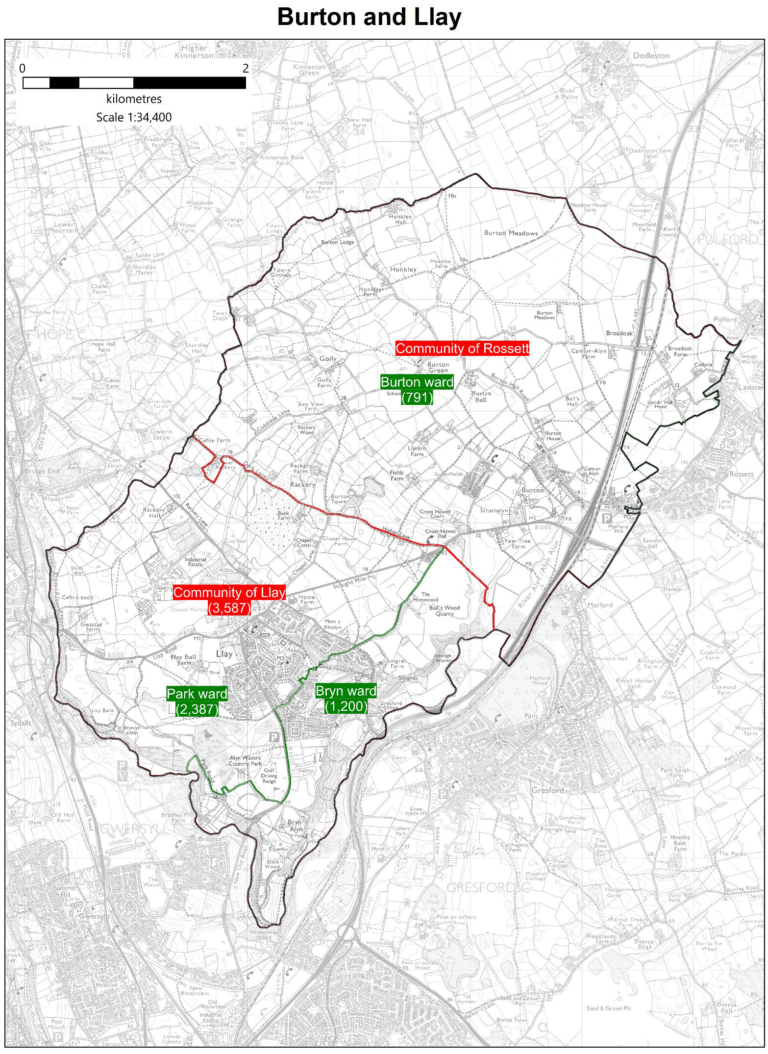 Map shows the proposed boundary of the Llay ward
